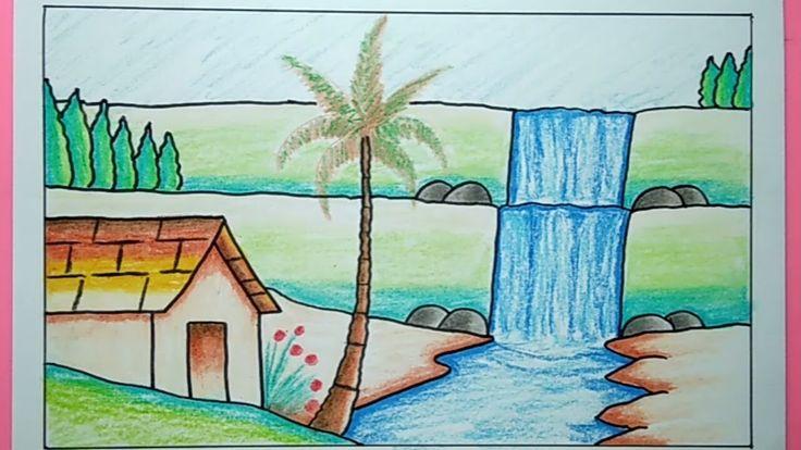 Cara Menggambar Pemandangan Air Terjun - Waterfall Drawing ...