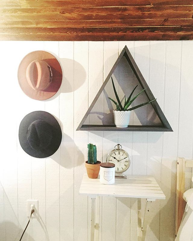 Debating if I should make more of these triangle shelves. I'm definitely keeping this one!!  What do you guys think? #seedstoplants #triangleshelf #woodwork #localbusiness #etsyshop