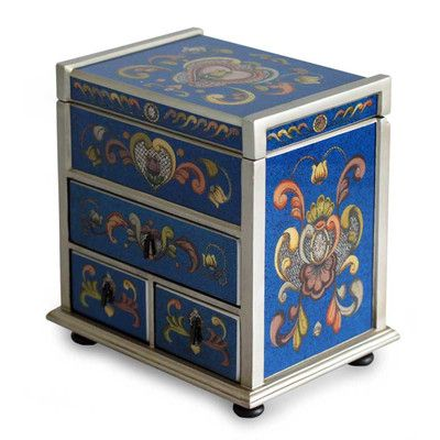 Novica Hand-Crafted Reverse Painted Glass Wood Jewelry Box