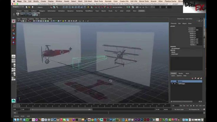 Modeling in wireframe mode inside Maya with texture map reference planes