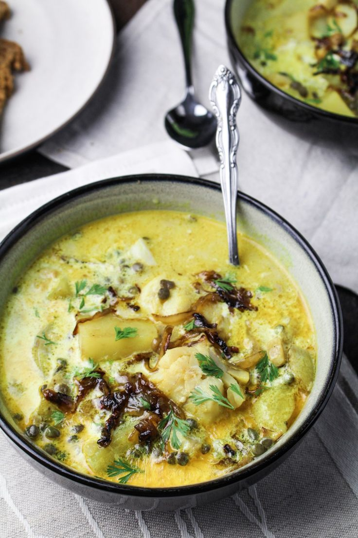 Curried Smoked Whitefish Chowder with Lentils and Caramelized Onions {Katie at the Kitchen Door}