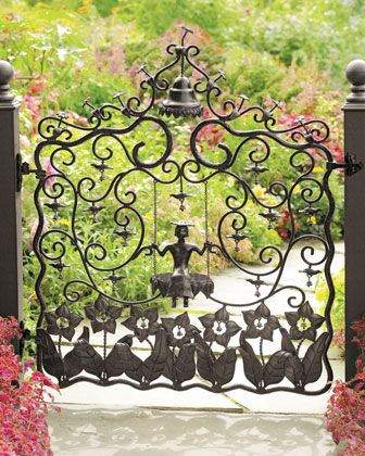 "Garden art at its best. Handsome enough to hang on a wall, the garden gate is made of forged iron with a black-brown finish and includes latch and hinges. Has an outward opening with the closure latch on the gate's right side. 44""W x 6.5""D x 47""T. Application of a sealant coating is recommended for lasting beauty outdoors."