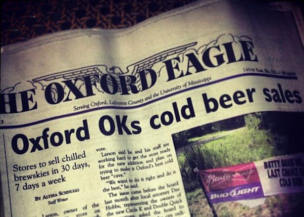 Until this week, there was a law in the city of Oxford, Mississippi, that prohibited residents from buying cold beer in local stores. But in a win for humanity, that'll no longer be the case.