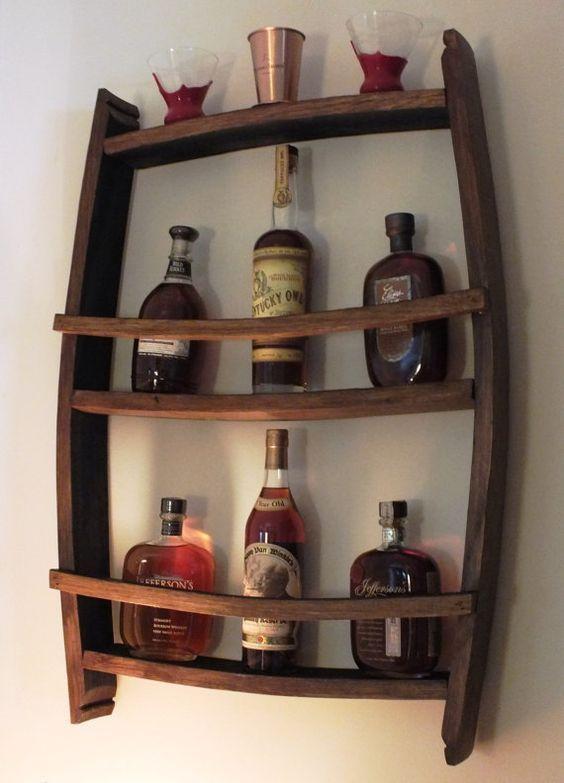 Bourbon Barrel Stave Shelf by BluegrassBourbonBarr on Etsy.  There is a bottle of KY Owl bourbon on display!!