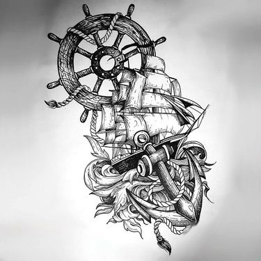 Ship Anchor Wheel Tattoo In Sketch Style Tattoo Design