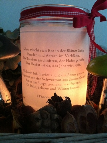 Print a special saying or message on vellum or regular paper and place inside mason jar with a battery operated votive. What a warm glow it creates.