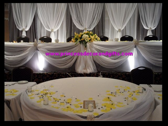 Platinum Silver & White Backdrop Wedding Decor & Head Tables! BLING!!!!!!! by Princess Decor & Gifts 416-898-7061, via Flickr