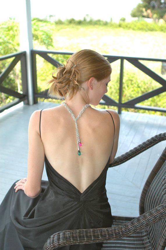 Green Amethyst & Pink Topaz Wrap Necklace / Gemstone by shopshrew