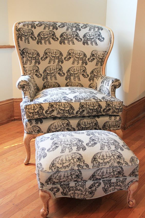 ELEPHANTS! on chair and ottoman, after.
