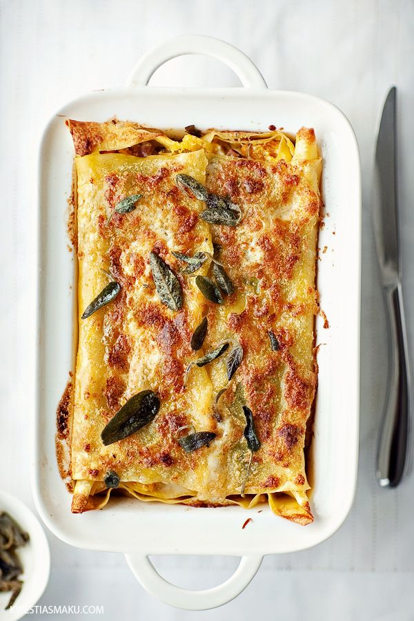 Pumpkin Lasagna with Swiss Chard, Parmesan and topped with crispy sage… A Tradition on Thanksgiving eve