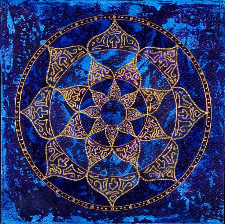 Cosmic Blue Lotus Mandala-  Print on Canvas, embellished by MandalaVisions on Etsy