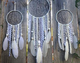 Custom White Dreamcatcher, Boho Decor Dream Catcher, nursery or bedroom, baby shower and birthday gift