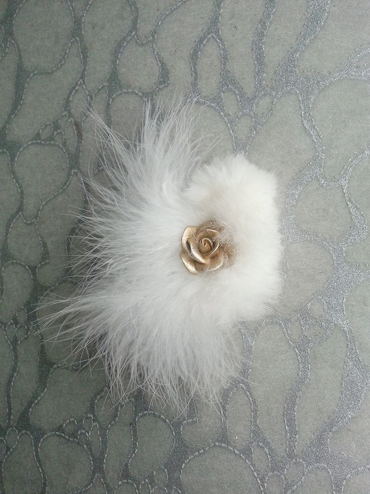 White Hair Clip / Brooch pin Dual Use Marabou feathers w upcycled Chinchilla Fur accented w Gold Flower Rose - Wedding Bride Bridal Festival by MEDICINAdesigns on Etsy