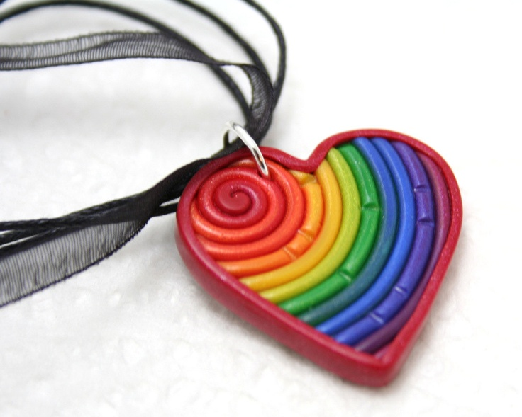 Rainbow+Heart+Pendant+in+Polymer+Clay+Filigree+by+StarlessClay,+$10.00
