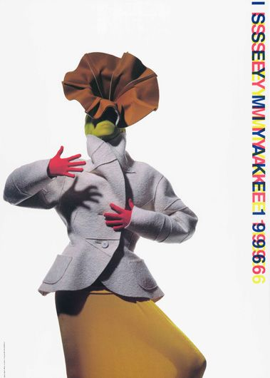 ISSEY MIYAKE Collection Poster, Autumn/Winter 1996.  Photograph by Irving Penn. Poster design and typography by Ikko Tanaka