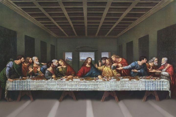 Leonardo da Vinci, ultima cena, mural oleo y tempera, Santa María de las Gracias, Milan. Cinquecentro.