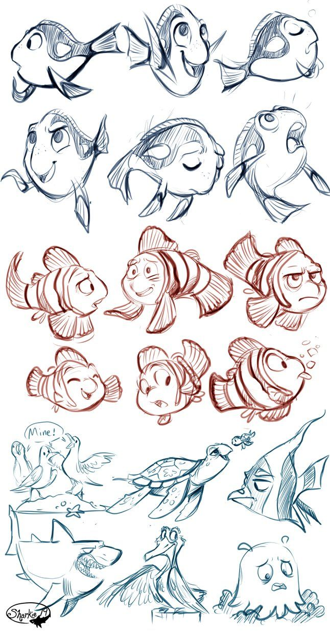 Finding nemo sketches tumblr sharkie-19.tumblr.com/post/132…