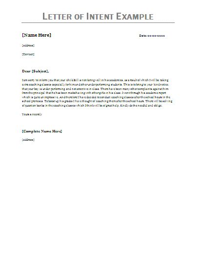 Letter Of Intent Examples Letter Of Intent Example