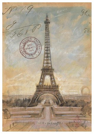 eiffel tower: I Learned Crafts, Vintage Postcards, Paris, Eiffel Towers, Learn Crafts, Art, Poster, Blades For Decoupage, Craft Is