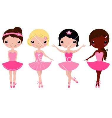 Little beautiful ballerina girls isolated on white vector