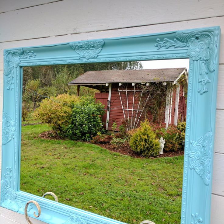 Vanity Wall Mirror Purple Bathroom Mirror Shabby Chic Wood Framed Mirror Large Vintage Style Mirror Custom Colors Available by HallstromHome on Etsy