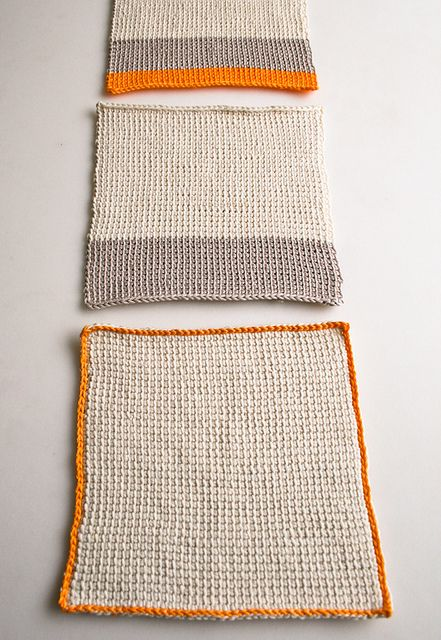 tunisian crochet washcloths - pattern