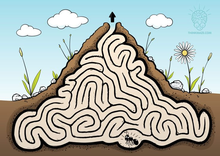 This little ant got lost. Help her get out of the anthill to enjoy some fresh winds and sun! CLICK on the picture to download the high quality PDF maze to prin