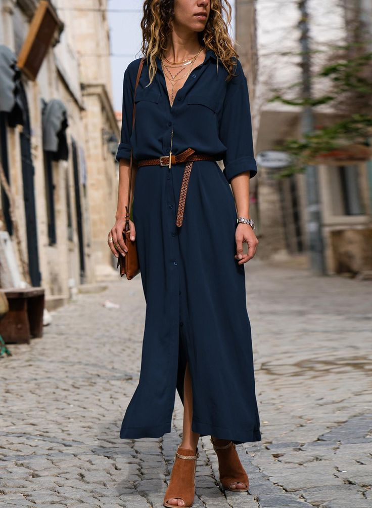 Casual Turn-Down Collar Long Sleeve Loose Button Down Maxi Dress 3