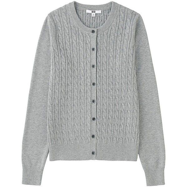 UNIQLO Cotton Cashmere Cable Cardigan (7 colours) ($39) ❤ liked on Polyvore featuring tops, cardigans, uniqlo, cardigan top, cable knit cardigan, uniqlo cardigan and chunky cable knit cardigan
