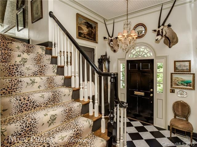 Mark Phelps Interiors, Interior Design, Leopard Rose Carpet, Charlotte,N.C.  Foyer | C  Furniture Wallpaper Lites Curtains | Foyer, Interior, Home
