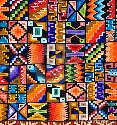 Colorful pattern of a Peruvian rug or tapestry by Tose, via Dreamstime