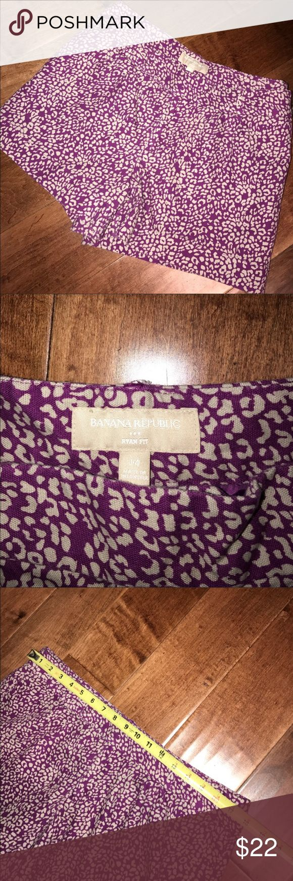 Banana Republic Plum Cheetah Shorts Great plum color with cream cheetah print. Great used condition. Soooo cute! 97% cotton 3% spandex. Banana Republic Shorts Cargos