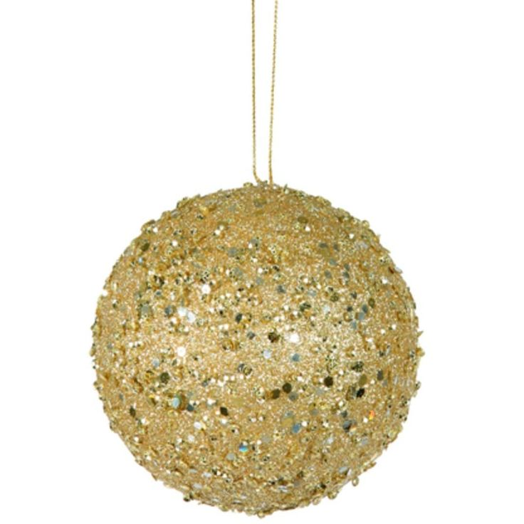Vickerman Fancy Gold Holographic Glitter Drenched Christmas Ball Ornament 4.75