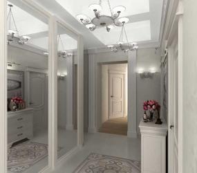 Дизайн узкого коридора с зеркалами в классическом стиле