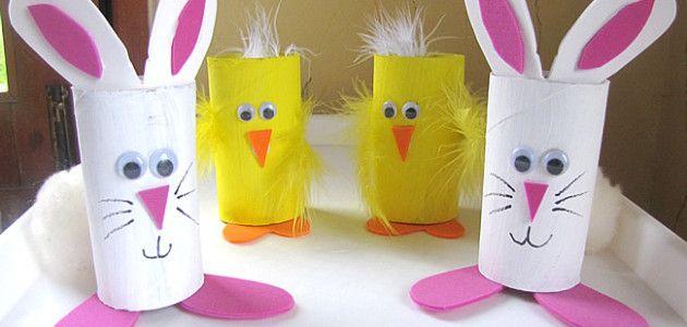 conejitos y pollitos de pascua hechos con tubos de papel