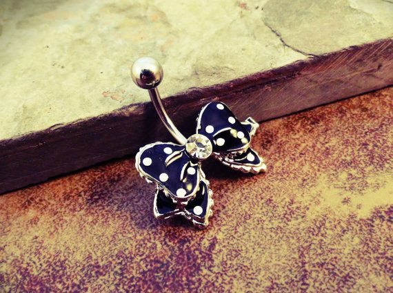Polka Dot Black Bow Belly Button Ring Jewelry on Etsy, $14.00