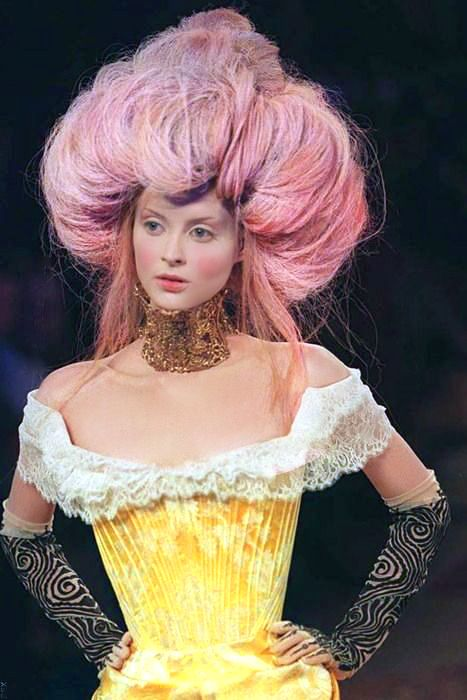 Givenchy by Alexander McQueen. 'Eclect Dissect' Couture Runway Fashion Show. 1997/98 Big hair up do, Avant grade hair, multi-colored hair. Marie Antoinette hairstyle inspiration. roccoco, baroque CREDITS: Hair styles by Nicolas Jurnjack, Makeup by Val Garland, Styling by Katy England