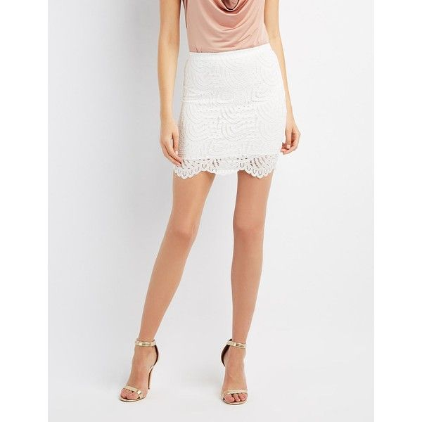 Charlotte Russe Lace Bodycon Skirt ($21) ❤ liked on Polyvore featuring skirts, mini skirts, ivory, white pencil skirt, bodycon pencil skirt, lace mini skirt, mini skirt and white short skirt