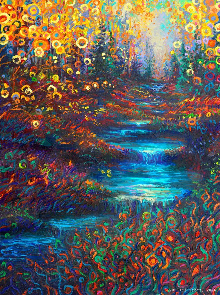 Cool flower and river painting! Glen's Glen | 36x48in Original SOLD | Buy Print