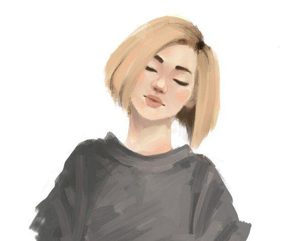 Автор: By Мэй #девушка #блондинка #арт #короткие_волосы #закрытые_глаза…