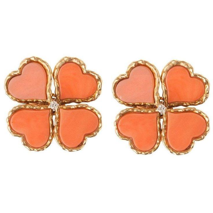 Coral Diamond Gold Clover Earrings | 1stdibs.com
