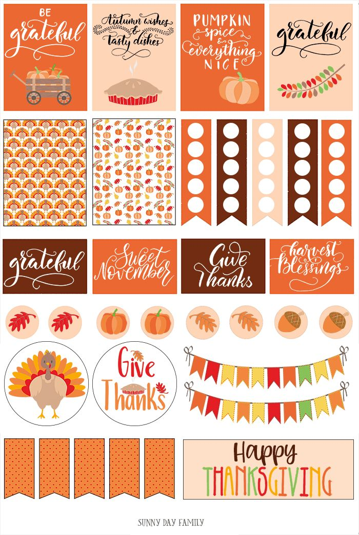 Thanksgiving Home Office Interior Design: Free Printable Thanksgiving Planner Stickers (Fits Happy