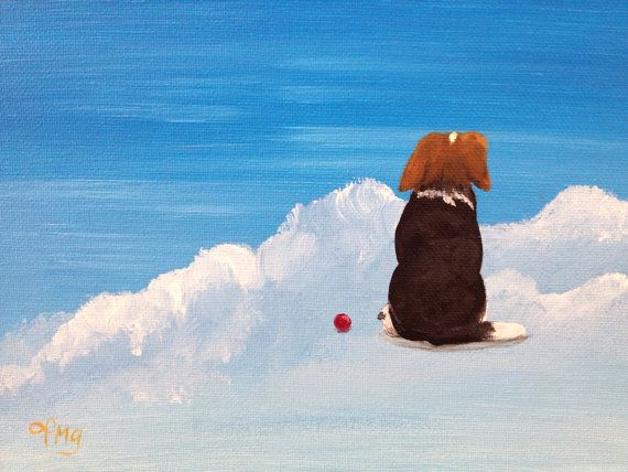'Waiting For You - Beagle' - beagle in Heaven original art painting print by Pamela Grice Art