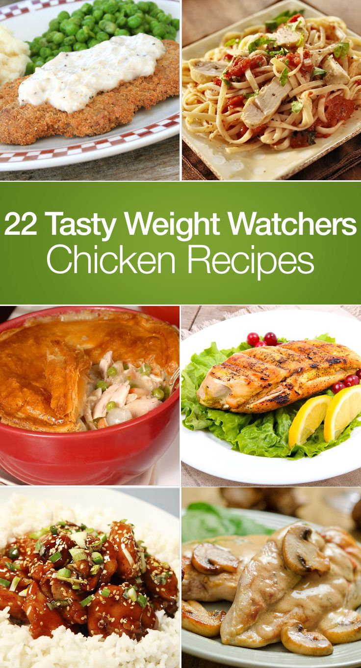 22 Tasty Weight Watchers Chicken Recipes including Crock Pot Teriyaki Chicken, Stuffed Peppers, Jalapeno, Cacciatore, Sweet & Sour, Parmesan with Mushroom Wine Sauce, Garlic, Coconut with Pina Colada Dip, Chicken Salad, Casserole, Pot Pie, Sesame, Enchiladas, Lemon Pepper, and more!