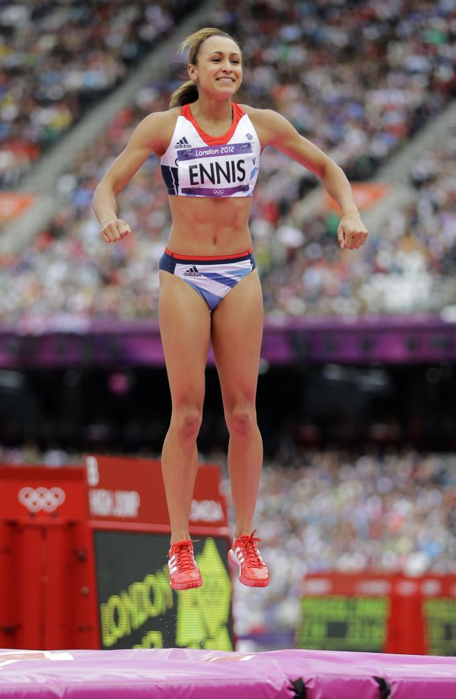 Britain's Jessica Ennis smiles after clearing the bar in the High Jump of the women's Heptathlon during the athletics in the Olympic Stadium at the 2012 Summer Olympics, London, Friday, Aug. 3, 2012.