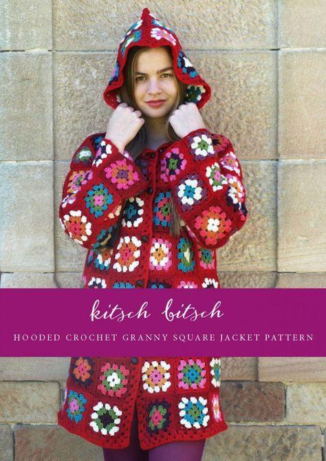 DIY hooded crochet granny square jacket coat pattern   Kitschbitsch