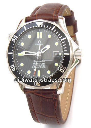 Dark Brown Crocodile Curved lug Ended Watch Strap For Omega Seamaster Professional
