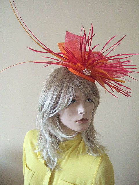 Bright Pink and Tangarine Orange Fascinator with Ostrich Quills & Feathers - Bright Hat