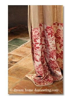 Burlap curtains with toile edging ... one of those other prints that I sent you.