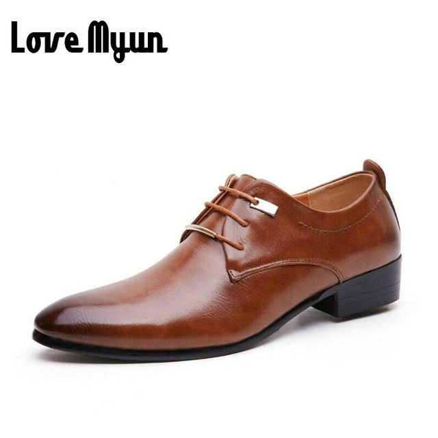 Happy Deal $18.34, Buy Hot sell mens leather shoes men's dress shoes British Style lace up Pointed toe low top flats 2 colors big size 37-46 AA-04